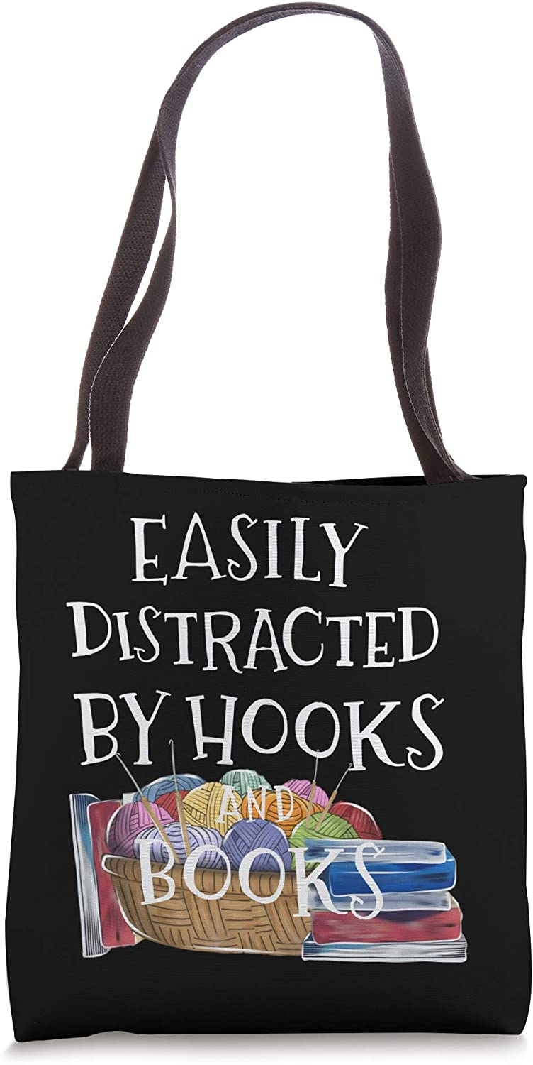 Crochet Funny Gifts Easily Distracted By Hooks Books Lovers Tote Bag