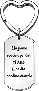 Angelra Portachiavi da Uomo Donna Ispiratore, Regali di Compleanno Ciondolo con Incisione per Amici Famiglia Amore (Style ...