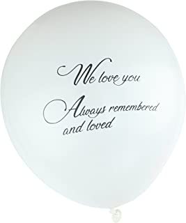 Qurly 36 Pieces White Remembrance Condolence Memorial Death Anniversary Celebration of Life Funeral Biodegradable 12 Inches Release Balloon We Love You Always Remembered and Loved