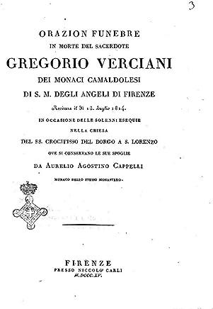 Orazion funebre in morte del sacerdote Gregorio Verciani