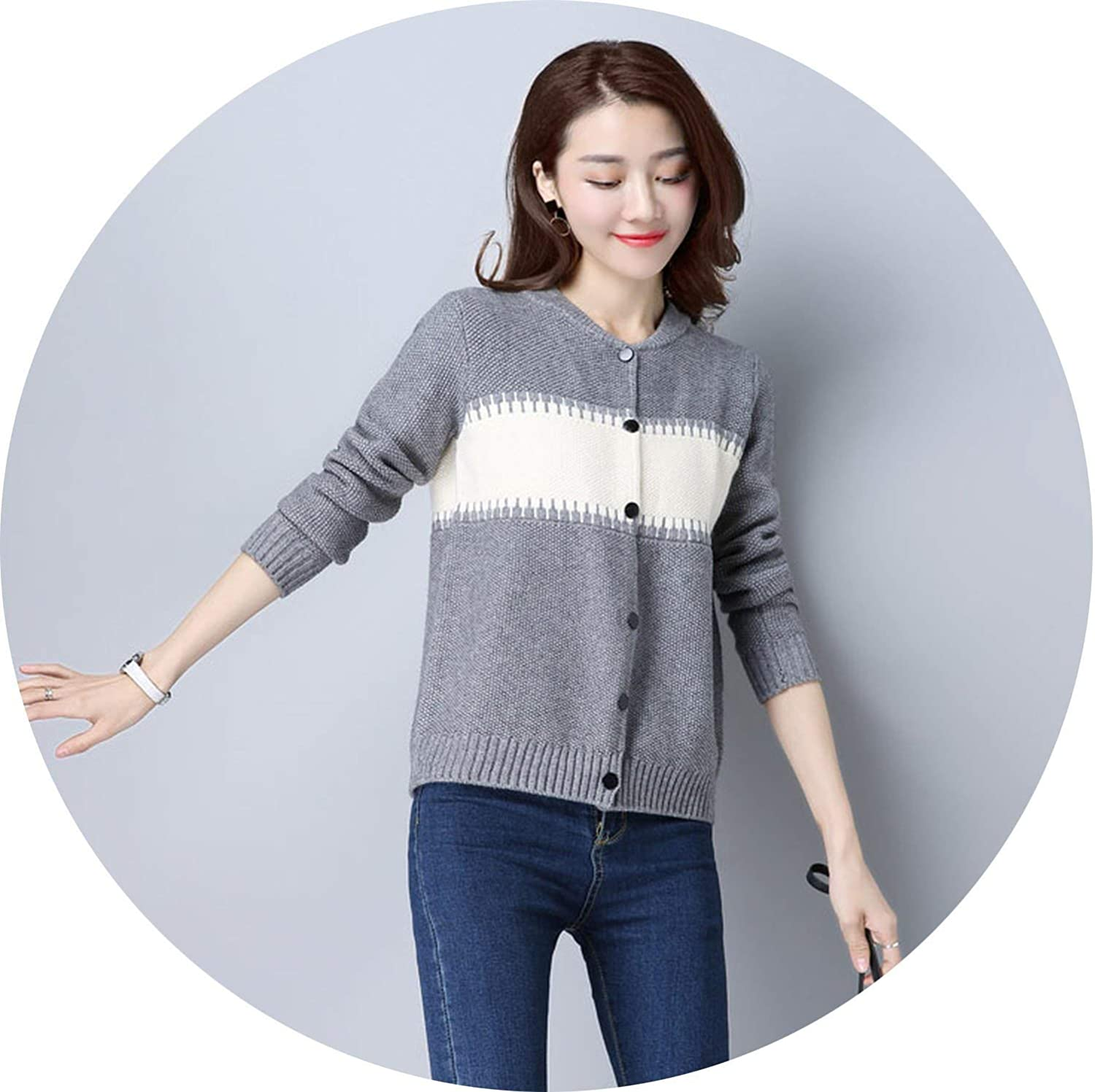 colorfulspace Knitted Cardigan Women Patchwork color Long Sleeve Women's Sweater Cardigan Single Button Pull Coat