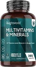 Multivitamines et Minéraux A Z - 365 Comprimés Haute Absorption - 27 Vitamines et Minéraux Essentiels A, B, C, D3, E, K2, Zinc, Fer, Iode, Calcium, Magnésium, Complément Alimentaire Femme et Homme