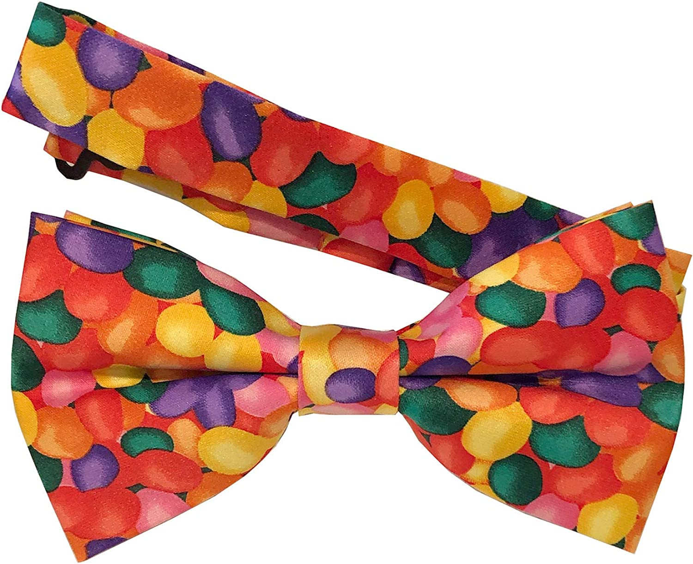 Jacob Alexander Men's Jellybean Candy Print Halloween Adjustable Pre-Tied Banded Bow Tie