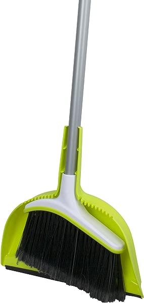Casabella Basics Broom With Dustpan Silver And Green