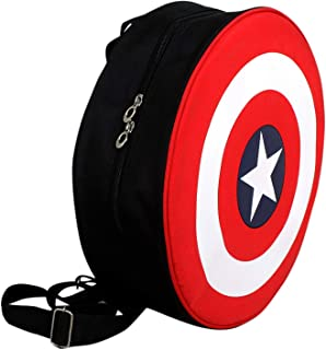 Purple Crane Unisex Avengers Captain America Shield Round Polyester School & College bagpack with Thick Padding - 20 L - Red & Black