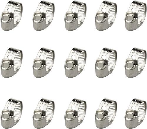 Astarye 15 Pcs Collier de Serrage Ajustable en Acier Inoxydable Tuyau Pinces Clips Fixation Réglable(10-16 mm)