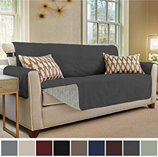 Gorilla Grip Original Slip Resistant Large Sofa Protector for Seat Width up to 70 Inch, Patent Pending Suede-Like Furniture Slipcover, 2 Inch Straps, Couch Slip Cover Throw for Dogs, Sofa, Dark Gray