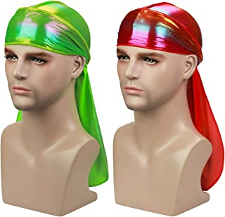 ASHILISIA Premium Silky Holographic Durag 360,540,720 Waves Extra Long Tail and Wide Straps for Men Du-RAG