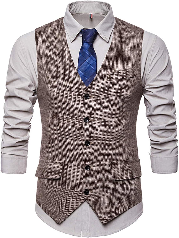 JOLIFEI Mens Tweed Herringbone Vintage Casual Business Waistcoat Suit Vest Formal Wedding
