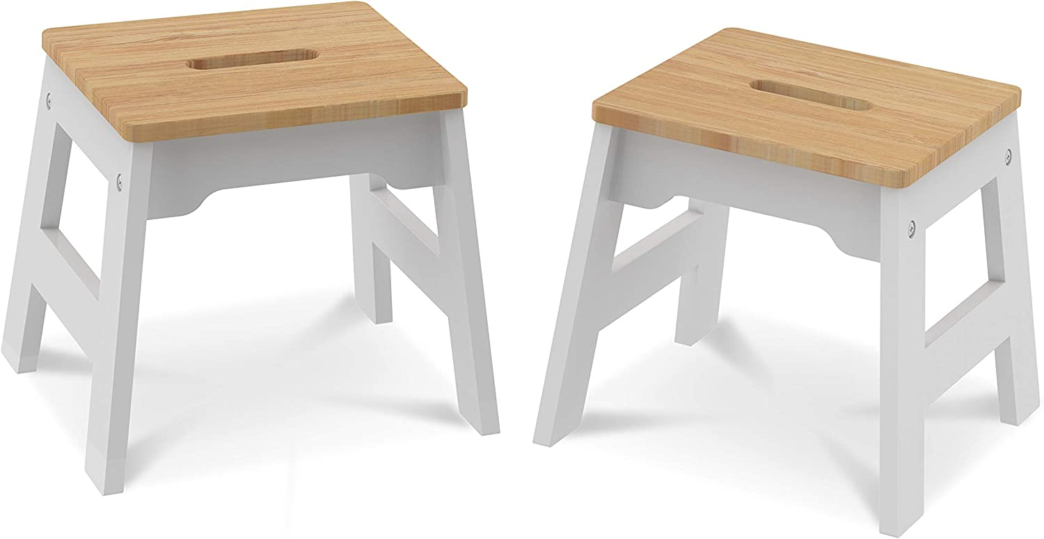 Melissa  Doug Wooden Stools - Set of 2 Stackable, 11-Inch-Tall