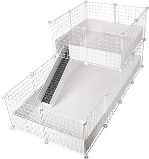 CagesCubes - Jaula CyC Deluxe (Base 2X4 + Loft 2x2 - Panel Blanco) + Base de Coroplast en Blanco para cobayas