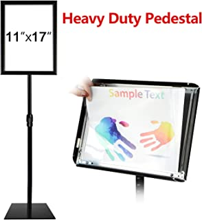 T-SIGN Adjustable Heavy Duty Pedestal Poster Stand, Square Steel Base, 11 x 17 Inch Aluminum Snap Open Frame, Vertical and Horizontal Displayed, Black