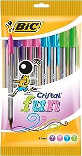 BIC Cristal Fun bolígrafos Punta Ancha (1,6 mm) – colores Surtidos, Blíster de 10 unidades
