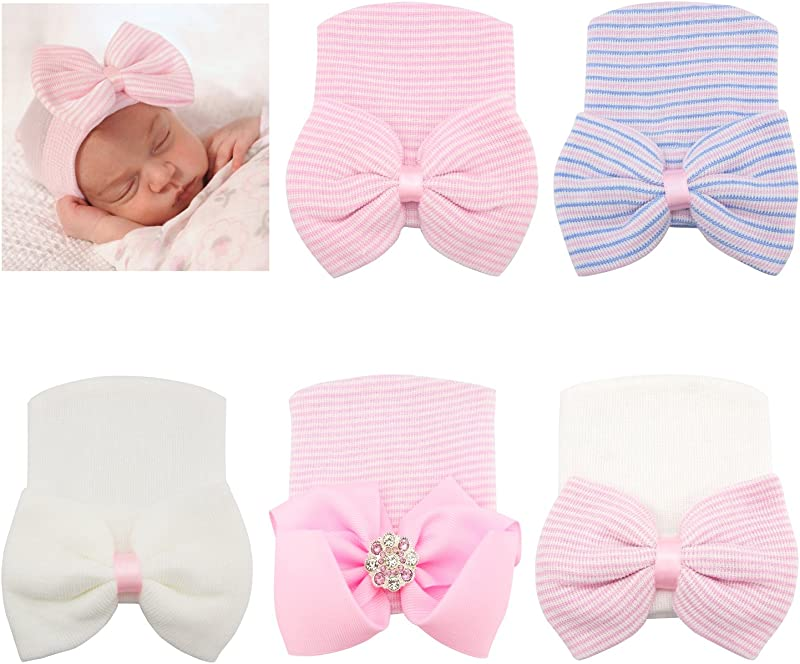 RareLove Newborn Hospital Hat With Stripe Bow Knot For Preemie Baby Girls Boys 5PCS
