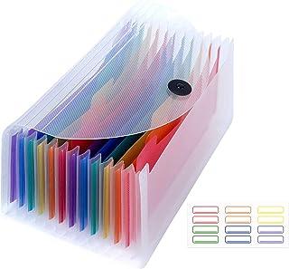 Uquelic Trieur 13 Compartiments - Trieur à Soufflets Classeur Rangement Papier Chemise Trieur Plastique pour Rangement Pap...