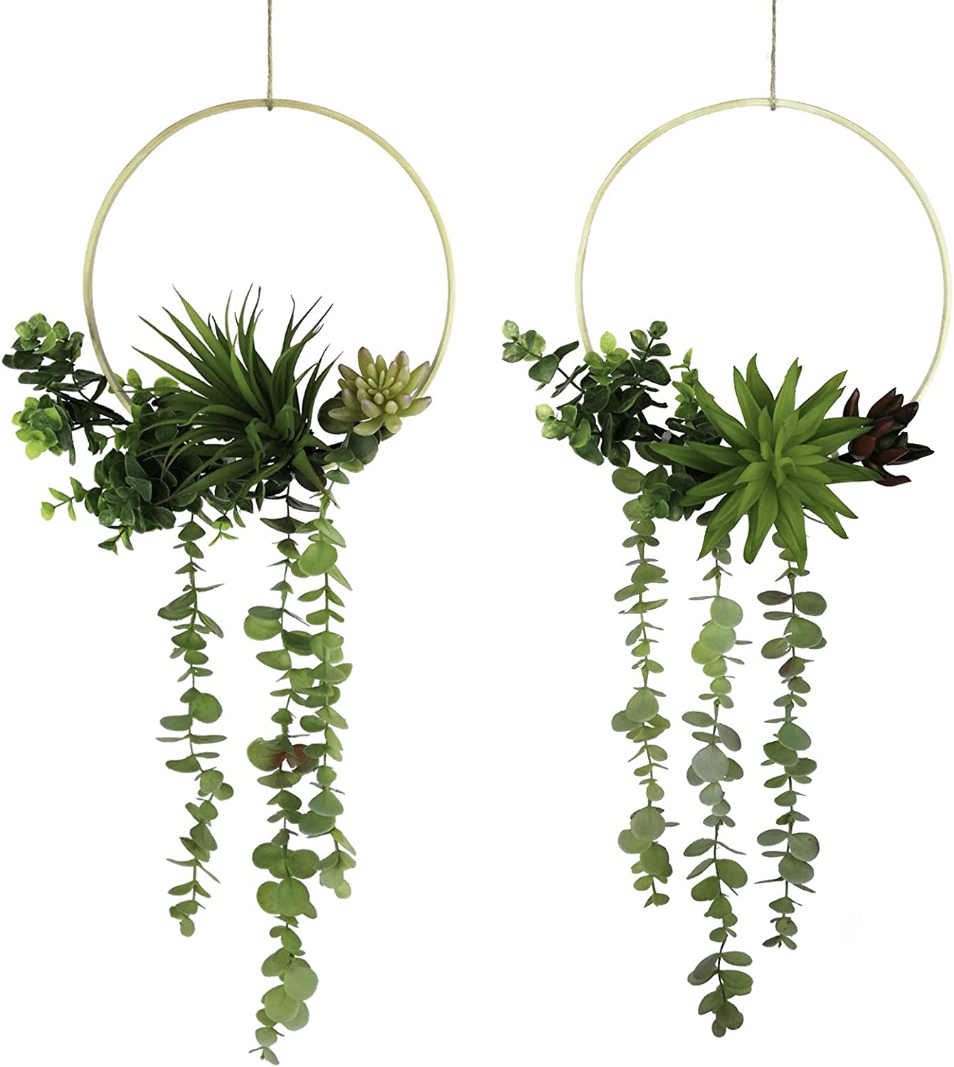 Tuokorgreen Set of 2 Artificial Succulent Hanging Plants Decor Wedding Wreath with Drooping Leaves Bamboo Floral Hoop Garland for Backdrop Nursery Wall Decoration