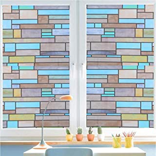 Bloss Stained Glass Window Film Privacy Decorative Brick Static Cling Window Covering Glass Non-Adhesive Heat Control Anti UV for Bathroom Room Door Kitchen Office 17.7