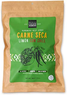 People`s Choice Beef Jerky - Carne Seca - Limón Con Chile - Healthy, Sugar Free, Zero Carb, Gluten Free, Keto Friendly, High Protein Meat Snack - Dry Texture - 1 Pound, 16 oz - 1 Bag