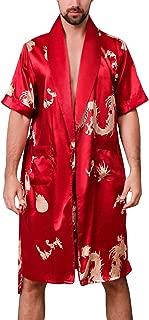 Men Satin Kimono Robe Silk Lightweight Classic Bathrobe with Boxer Shorts