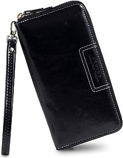 Wristlet Wallets for Women, Ladies PU Vegan Leather Clutch Wallet Zip around Phone Purse Card Holder Organizer
