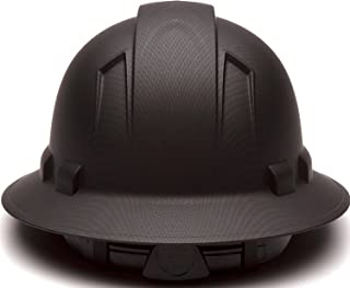 Full Brim Hard Hat, Adjustable Ratchet 6 Pt Suspension, Durable Protection Safety Helmet, Graphite Pattern Design, Black Matte, by AcerPal