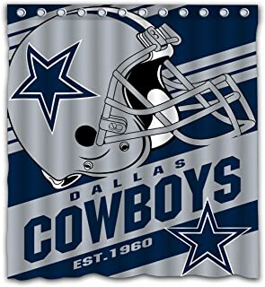 Potteroy Dallas Cowboys Team Stripe Design Shower Curtain Waterproof Polyester Fabric 66x72 Inches