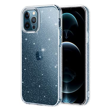 Lamcase Compatible with iPhone 12 Pro Max Case, Bling Sparkly Glitter Shiny Soft Flexible TPU Slim Fit Drop Protection Shockproof Cover Compatible with Apple iPhone 12 Pro Max 6.7 2020, Clear Glitter
