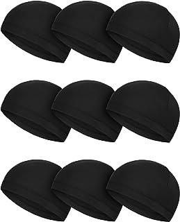 Sponsored Ad - SATINIOR 9 Pieces Skull Cap Running Hats Sweat Wicking Hats Milk Silk Cycling Helmet Liner for Men