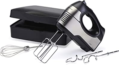Hamilton Beach 6 Speed Hand Mixer with Quickburst, Storage Case, Bowl Rest (62647), 300W Peak Power, Stainless Steel