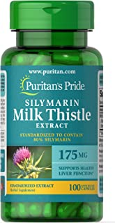 Puritan's Pride Milk Thistle Standardized 175 mg (Silymarin)-100 Capsules