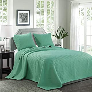 """LINT HINT 100% Microfiber Quilted&Prewashed 3PC Oversized Bedspread Set/Quilt Set/Coverlet Set.Full/Queen: 100""""x106""""/20x26""""(2), King/Cal King: 118""""x106""""/20x36""""(2 (Pattern #1-Turquoise, King/Cal King)"""