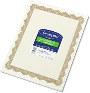 Geographics Optima Gold Certificates with Foil Seals, 8.5 x 11 Inches, White Gold, 25-Sheet Pack (39451)