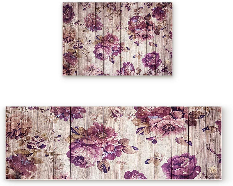 Non-Slip Indoor Door Mat Entrance Rug Rectangle Absorbent Moisture Floor Carpet for Floral Theme Vintage Peony Flowers Doormat 19.7x31.5In+19.7x63In