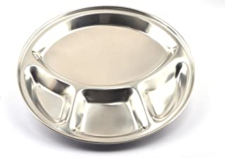 PRC 4 Compartment Stainless Steel Round Thali 13 Inch