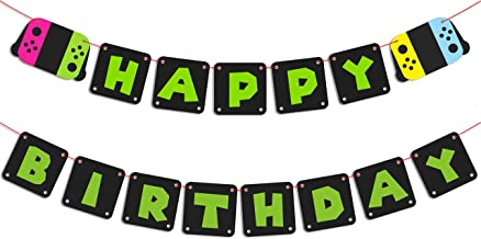 MALLMALL6 Gaming Birthday Banner Video Game Happy Birthday Party Supplies for Boy, Gamers Birthday Party Favors