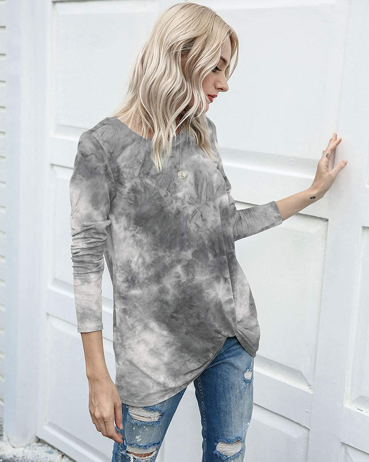 SENFURE Womens Tops Casual Long Sleeve Round Neck Tie Dye Comfy Casual Twist Knot Tunics Tops Blouses Tshirts