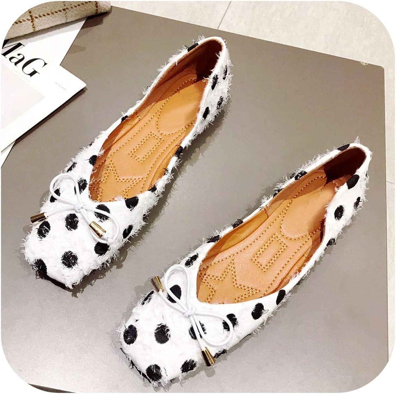 Newest shoes Women Flats Fashion Polka Dot Shallow Slip-On Single shoes Office Footwear Females Footwear White