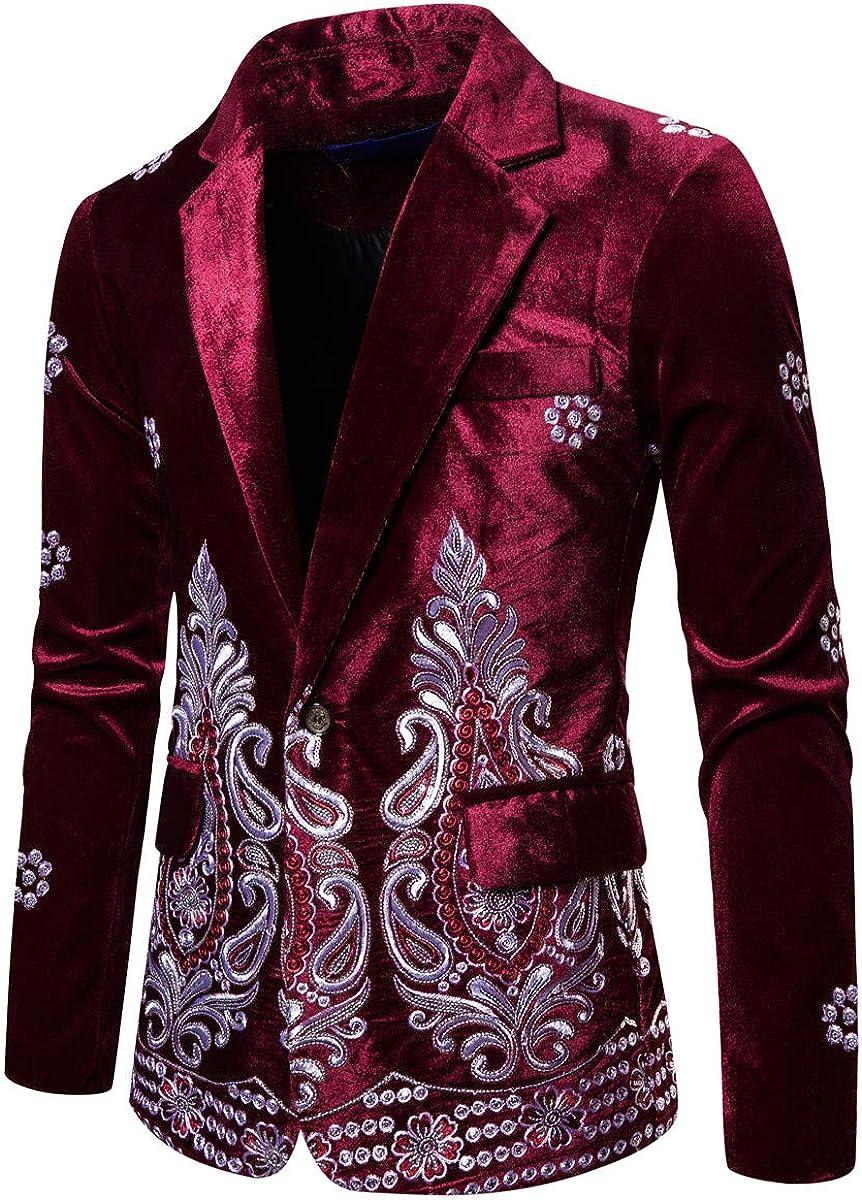 Mens Velvet Dress Suit Jacket Outlet ☆ Free Shipping Slim Din Blazer Embroidery Tux Fit Max 58% OFF