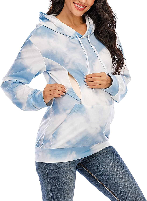 Maternity Nursing Hoodie for Women Long Sleeve Breastfeeding Tops Tie Dye Pregnancy Shirt Casual Fall Pullover