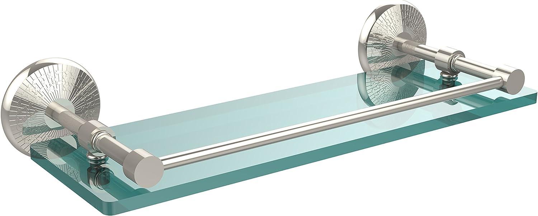 Allied Brass MC-1 16-GAL-PNI Monte Carlo 16-Inch Tempered Glass Shelf with Gallery Rail, Polished Nickel