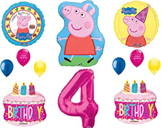 Peppa Balloons 4th Happy Birthday Party Decorations Supplies