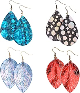 9 Pairs Leather Leaf Earrings Antique Dangle Leaf Earrings Leather Leaf Dangle Earrings for Women Girls CestMall Lightweight Teardrop Leather Earrings Faux Leather Earrings Set