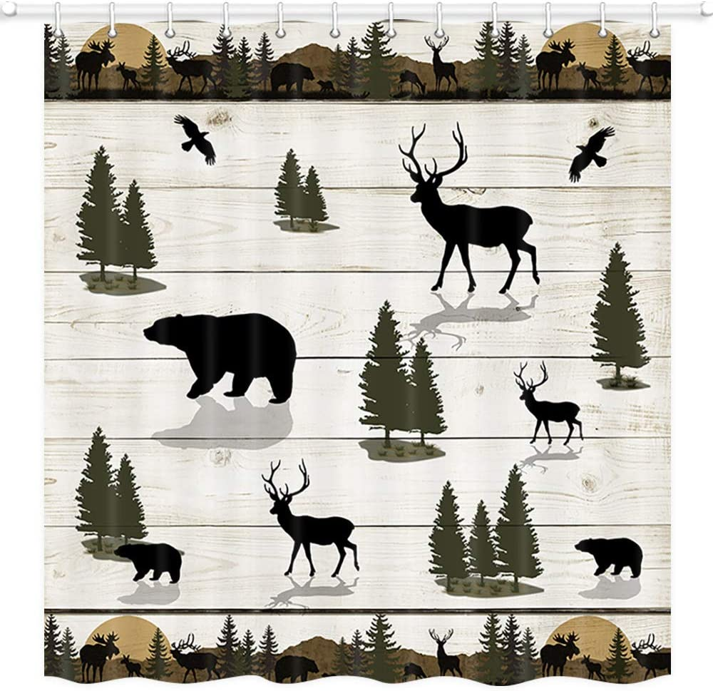 JAWO Wild Animal gift Shower Curtain for Deer in National uniform free shipping Bear Bathroom and F