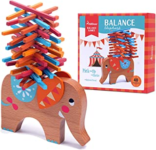 USATDD Wooden Puzzle Stacking Building Blocks Balance Board Table Game Elephant Balancing Toy Educational Gift for Kids 40 Pieces (Brown)