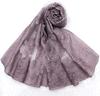 NOMSOCR Women Chiffon Scarf Long Lightweight Solid Color Rose Print Shawl Scarves (Light Purple)