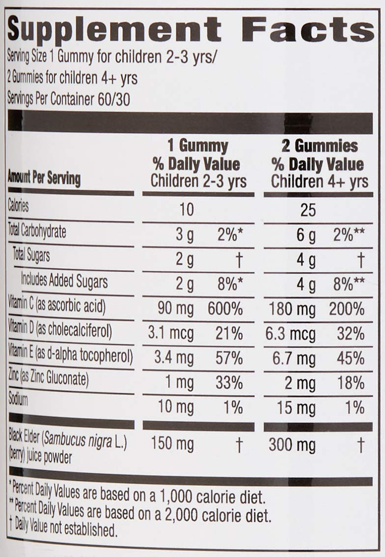 Amazon Brand - Mama Bear, Vegetarian Kids Black Elderberry Gummies 300 mg with Vitamins C, D, E and Zinc - Immune System Support - 60 Gummies (1 to 2 Month Supply), Non-GMO, Gluten Free