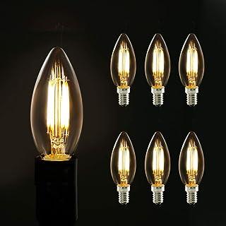 6X Bombilla Edison LED E14 Lámpara de vela transparente vintage 2700k blanco cálido 40W Corresponde a la lámpara incandescente para lámpara de araña lámpara de pared, no regulable