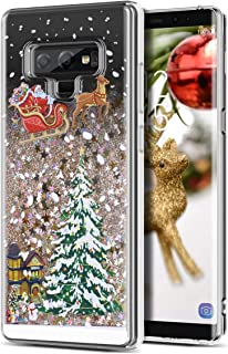 Galaxy Note 9 Case, CinoCase 3D Liquid Case [Christmas Collection] Flowing Quicksand Moving Stars Bling Glitter Snowflake Christmas Tree Santa Claus Pattern Soft TPU Case for Samsung Galaxy Note 9