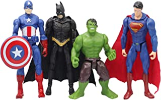 MALUNGMA Superhero Avengers Action Figures Toy - 4 Piece Action Figure Set - Batman, Superman, Hulk, Captain America Toys