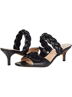 COACH Mollie Sandal,Black Smooth Leather